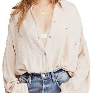 FREE PEOPLE Solid Hidden Valley Button Down Shirt